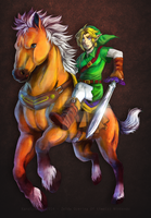 Ocarina of time - Epona and Link by Karolykan