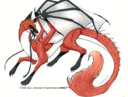 Fox-Dragon by benwhoski