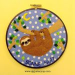 Good Night Sloth Embroidery Hoop by iggystarpup