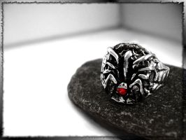 Spider ring whit the red,,, by blackdragonssoul