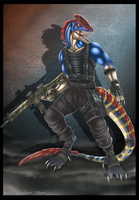 Anthro Guanlong Mercenary by DrakainaQueen