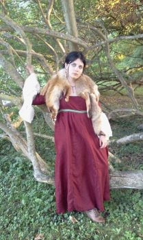 Red medieval  dress by embla-chan