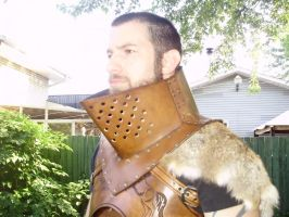 Heavy leather gorget made of 10oz hardened leather by marcuslerenard