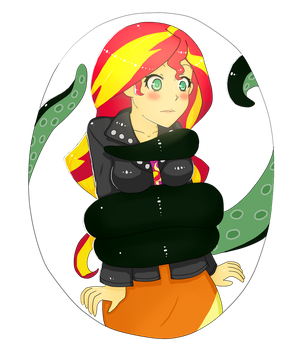 Sunset in A Tentacle Transparent BG by mimimikasa by Arielfan90