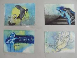 4 small paintings (robots and lizards) by oO-sam-Oo