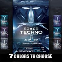 SPACE TECHNO FLYER TEMPLATE by MCerickson