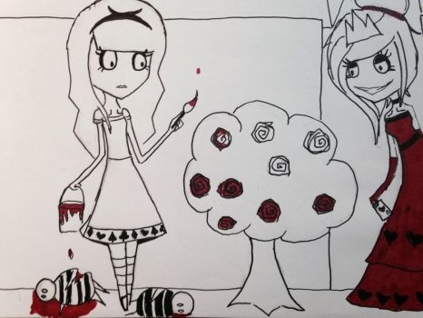 Alice Painting the roses red by Kai-the-demoncat