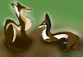 Grinning Foxes by JasminePetals