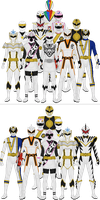 All Super Sentai and Power Rangers Whites by Taiko554