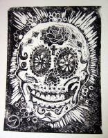 Day of the Dead skull  lino cu by Wicked-dollz