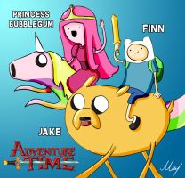 Finn, Jake and Princess Bubblegum by MartinsGraphics