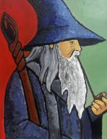 Gandalf (Portrait of a Wizard) Post Impressionism by janique-marie
