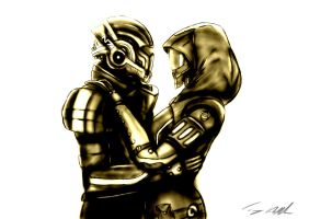 Shepard and Tali - I have a home by monobryn47