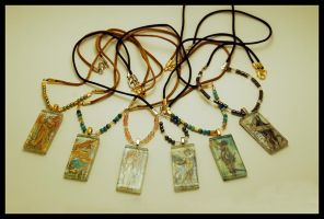 Assorted Beaded Tile Pendants by AngelaSasser