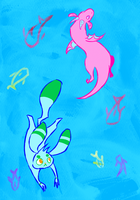Arlo and Ivy swimming in a pond somewhere cool by haymakers