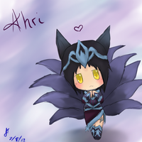League of Legends: Ahri the nine tailed fox Chibi by TheMuteMagician