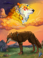 WIP wolves in clouds (ADVICE?) by Akadafeathers