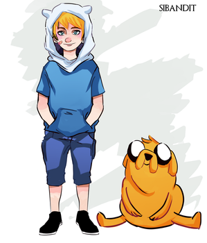 Finn and Jake by sibandit