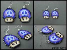 Tri Colored Poison Mushroom Earrings by Pixelosis