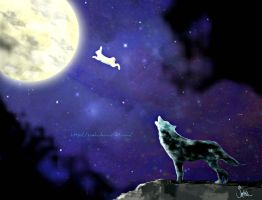 The rabbit the moon and the wolf by Zoehi