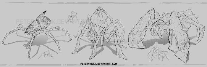 Lava spiders concept sketches by PeterKmiecik