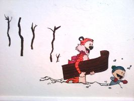 Calvin and Hobbes: Wall Mural by blindbandit5