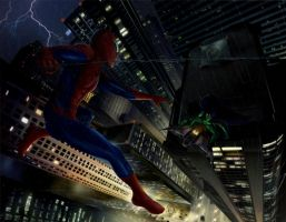 Spider-man vs Green Goblin by MarkQuincy