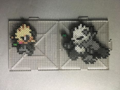 #674-#675 Pancham and Pangoro Perlers by TehMorrison