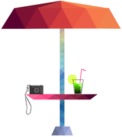 222-1019 Lowpoly Beach umbrella, Camera and drink by JuralMin