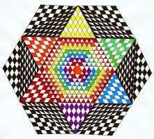 Colorful Black and White Hexagon by magentafreak