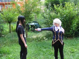 Rerouchu gives flower to Kanda by Irridian