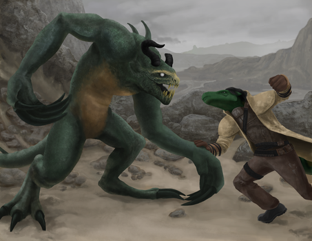 Deathclaw and Cocamo by liliwen