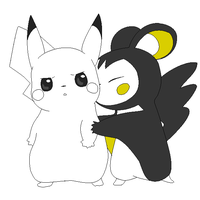 pikachu and emolga lineart by michy123