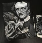 Edgar Allan Poe. Acrylic on paper. by Tribalogy