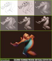 Coloring Technique Preview: Greyscale Step by Step by ConceptCookie
