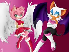 Amy Rose and Rouge The Bat by MonicaShadowXD