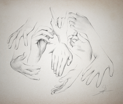 Hand studies - reference sheet by RinFaye