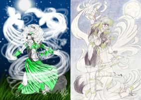 Old and new moon dance by TheArtyMadCow