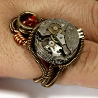 Steampunk Ring Amber and Watch Movement by CatherinetteRings