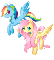 Rainbow and Fluttershy by ILightningStarI