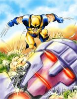 Wolverine vs Sentinel color by Romax25