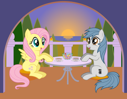 Late Tea with ITex and Fluttershy by scadl