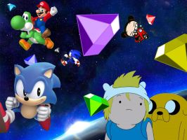Chaos Emeralds in Space by rabbidlover01