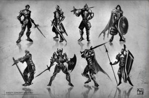 Knight Silhouettes - Concept Thumbnails by Avasariah