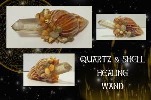 QUARTZ AND SHELL HEALING WAND by SCT-GRAPHICS