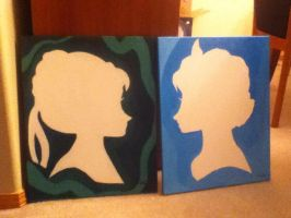 Anna and Elsa paintings by TheNinjaLegend