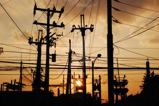 sunset and wires by queijokuki