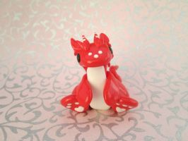 Red and White Valentine's Dragon by KriannaCrafts