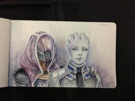Day 4 - Liara and Tali by Alejandra-perez