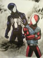 Black suited spider man and the scarlet spider by Skoolnik